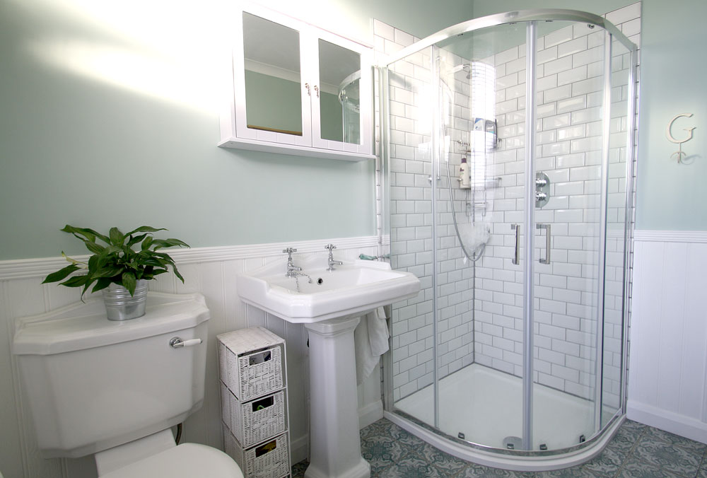 Traditional Bathroom with Metro Tiles